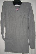 Brand New Shaker knit Tunic sweater gray V neck X-Large