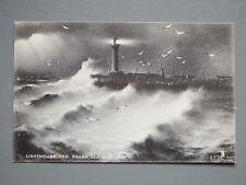 R&L Postcard: Lighthouse and Rough Sea Margate, Raphael Tuck Sapphire Rough Sea