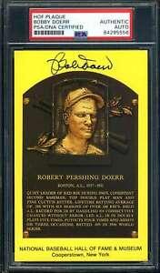 Bobby Doerr PSA DNA Cert Signed Gold HOF Plaque Autograph