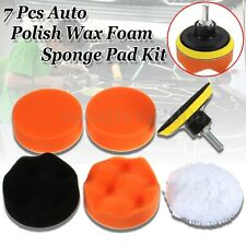 "7pc 3"" Auto Car Polish Wax Foam Sponge Pad Polisher Buffer Set Drill Adapter Kit"