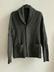 Ralph lauren Rugby shawl collar cardigan leather patch elbows mens Small gray
