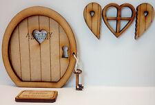 Clé à mon coeur miniature en bois 3D fée porte kit avec fenêtre et volets