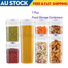 7 Set Pantry Organization Dry Food Storage Containers Airtight Lids Transparent