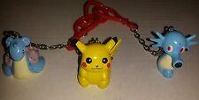 2000 Pokemon Picachu, Horsea, and Lapras PokeBall Key Chain Figures no pokeballs