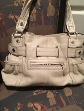 Med Beige Wilson100% Peb Leath 3 Sect Shou Tote Bag Purse SatchPriority Ship👠👛