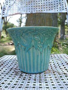 "Vtg Brush McCoy Blue Green Ivy Jardiniere Planter Art Pottery Turquoise 6.25"" Lg"