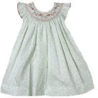 Posh Sweet Beautiful Angel Sleeve Green Floral Petit Ami Gold Girl Smocked Dress