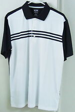 NWT Adidas ClimaCool 3-Stripes Polo. Color-White/Black. Style #Z22062 Size-Large