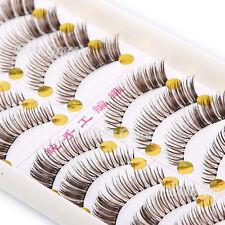 10 Pairs Make Up Brown Fasle Eye Lashes Thick Natural Party Fake Eyelashes Soft