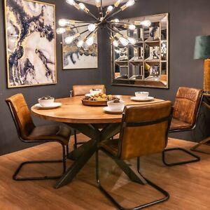 Round Wood Dining Table Handmade Indian Acacia Wood Grey Metal Cross Legs