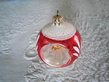 Vintage Glass Hand Painted Triple Indent CHRISTMAS TREE ORNAMENT  Germany