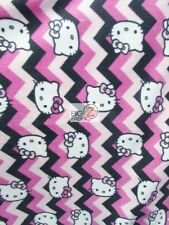 HELLO KITTY CHEVRON PINK BY SPRINGS CREATIVE FLEECE FABRIC (1069) BY THE YARD