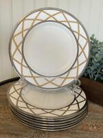 "Set of 7 Lenox Braided Elegance Dinner Plate 9.25"" - EXCELLENT Fine Bone China"