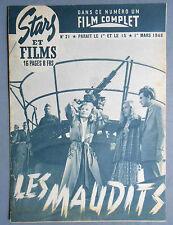 ►STARS ET FILMS 21/1948 LES MAUDITS - HENRI VIDAL - MICHEL AUCLAIR - BOURVIL
