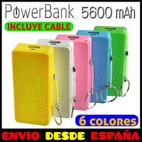 BATERÍA EXTERNA POWER BANK 5600mAh CARGADOR MICRO USB UNIVERSAL MOVIL, TABLET