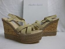 Charles David Size 10 M Fare Camel Elastic Open Toe Wedges New Womens Shoes