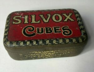 Antique Silvox Beef  6 cubes Empty Tin Oxo Rival brand 6 x 4 x 2 cm's
