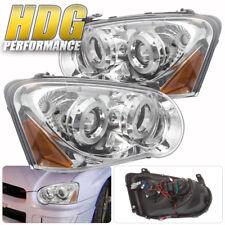 Fits 04-05 WRX STI Impreza GD GG Projector Halo LED Headlights Chrome Housing