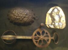 Primitive Antique Vintage Dover Egg Beater, Tin Mold and Soccer Mold (AC1)
