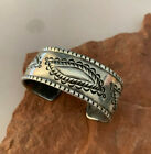 AWESOME Coin Silver Stamped Bracelet by Master Silversmith PERRY SHORTY Navajo