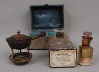 brûle parfum ancien dans son coffret avec flacons antique perfume censer 19th C.