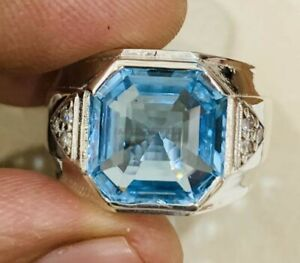 Natural Blue Topaz Gemstone with 925 Sterling Silver Ring for Men's AJ479