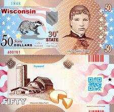 USA 50 Dollars Wisconsin State #30 Fun-Fantasy Note Laura Ingalls Wilder, Badger
