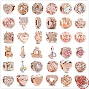 NEW 925 Silver Pandora Pendant Rose Beads Charms Bracelet Charm Women Jewelry