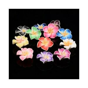 Mixed-Colour Polymer Clay Beads Flower 10 x 20mm Pack Of 10