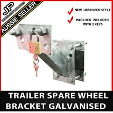 SPARE WHEEL BRACKET WITH LOCK CARRIER HOLDER TYRE GALVANIZED TRAILER  BOAT