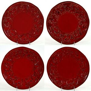 "Crate & Barrel CARMEN BROCCATO 9"" Salad Plate Set 4Pc Red Italy Italian Pottery"