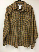 Wrangler Wrancher Long Sleeve Pearl Snap Shirt XL Cowboy Western Rancher Plaid