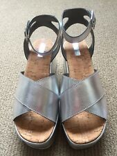 Topshop Leather Silver Wedge Platform Sandals Size 7 New With Tags