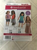 American Girl Simplicity pattern S0170 18 inch doll 4 outfits New Uncut