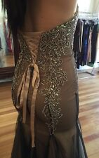 Mermaid Strapless Sweetheart Lace Up Corset Champagne And Black Long Prom Dress