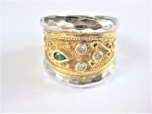 Solid Ring Gold 750 Bicolour With Emerald And Diamonds, 14,97 G
