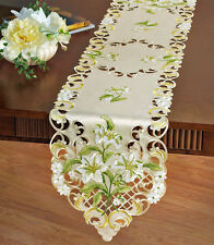 "White Lily Spring Decor Lily Table Runner Dresser Scarf 68""x 13"" Vintage Style"