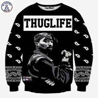 Europe And America Fashion Men Hip Hop Hoodies Rapper 2pac Tupac 3d Thuglife