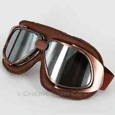 Motorcycle Motorbike Chopper Pilot Goggles Glasses Eyewear CE Vintage Brown