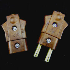 1 pair Brown Bakelite Male Female Plug Connector Socket 40A 250V s744