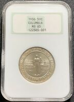 "1936 Columbia Commemorative Half Dollar 50c - NGC MS65 - Old ""Fatty"" Holder"