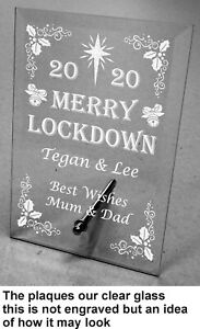 Engraved Personalised Merry Lockdown xmas Glass Plaque