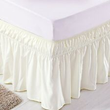 Solid Ivory 600 Tc Cotton Wrap Around Ruffle Bed Skirt All Us Bed Size Drop New