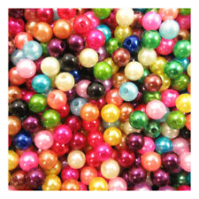 6mm 8mm ACRYLIC IMITATION PEARL BEADS *19 COLOURS* ROUND COLOURFUL FAUX PEARLS
