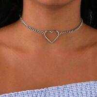 Hollow Heart Choker Necklace Love Dainty Pendant Silver Chain Women Jewelry Gift