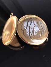 "Filled Mono Engravings Locket Pendant 1.5"" Antique Victorian Gold Filled or Gold"