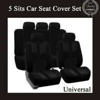 Universal Breathable Seat Cover Set 5 Seat Black Four Seasons For Car Truck SUV