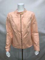 Isaac Mizrahi Women 24/7 Colored Denim Zip Front Jacket Malibu Peach Size 14