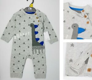 Mothercare Baby Boys Romper Grey Knitted Dinosaur Outfit All In One Outfit NEW