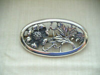 Vintage sterling silver flower foliage brooch pin Hallmarked London 1989